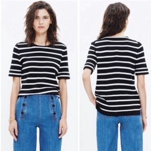 Madewell Black & White Striped Wool Short Sleeve